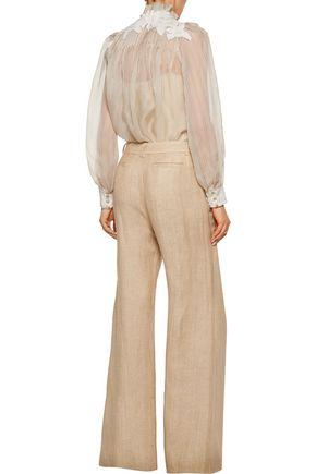 ZIMMERMANN Mischief herringbone silk and linen-blend wide-leg pants