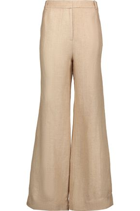 ZIMMERMANN Mischief herringbone silk and linen-blend wide-leg pants