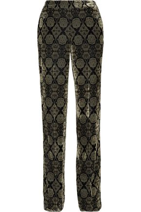 ETRO Printed velvet straight-leg pants