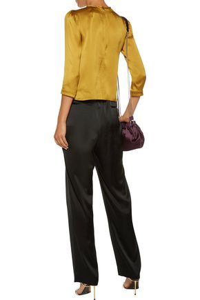 DIANE VON FURSTENBERG Pleated satin straight-leg pants