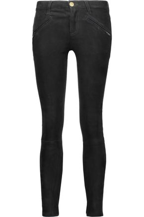 CURRENT/ELLIOTT Mid-rise stretch-suede skinny jeans