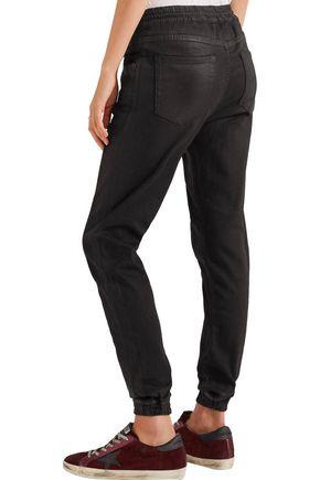 R13 Coated denim track pants