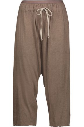 RICK OWENS Cropped mélange jersey harem pants