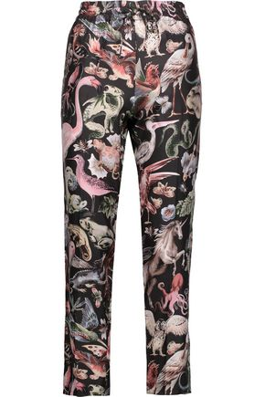 VALENTINO Printed silk-satin tapered pants