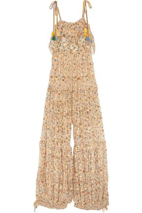 CHLOÉ Pleated printed lace jumpsuit