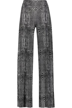 NORMA KAMALI Printed stretch-jersey wide-leg pants