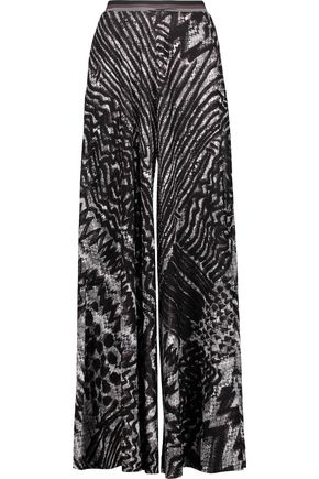 MISSONI Crocheted wool-blend wide-leg pants
