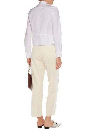 MM6 by MAISON MARGIELA Satin-trimmed velvet straight-leg pants