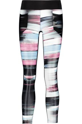 KORAL Magnify mesh-trimmed printed stretch-jersey leggings