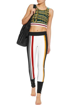 NO KA 'OI Kamala embellished paneled stretch-jersey leggings