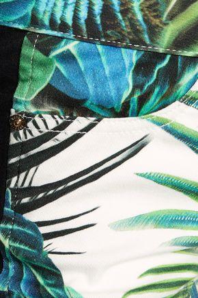 ROBERTO CAVALLI Printed mid-rise slim-leg jeans