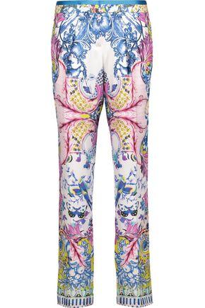 ROBERTO CAVALLI Printed silk-satin twill tapered pants
