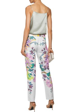 ROBERTO CAVALLI Floral-print linen tapered pants