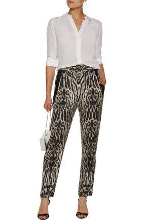 ROBERTO CAVALLI Printed silk-satin tapered pants