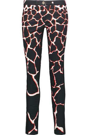 ROBERTO CAVALLI Paneled printed cotton slim-leg pants