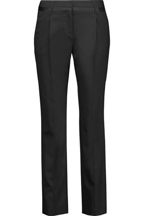 ROBERTO CAVALLI Silk satin-trimmed wool-blend slim-leg pants