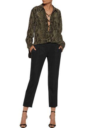 ROBERTO CAVALLI Silk satin-trimmed wool-blend slim-leg pants