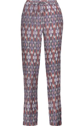 JOIE Kira printed washed-silk tapered pants