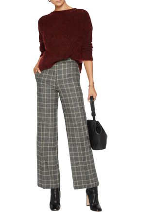 8 Checked wool-blend straight-leg pants