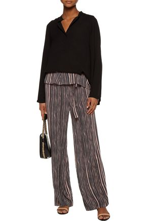 VIX Lanai Lotus striped voile wide-leg pants