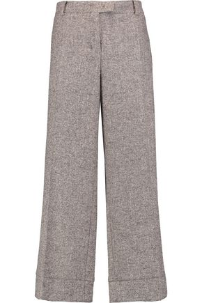 AGNONA Herringbone brushed textured-knit straight-leg pants