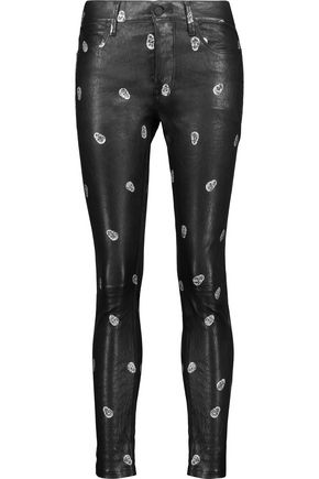 RTA Ryder printed leather skinny pants