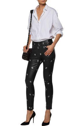 RTA Ryder printed leather skinny pants