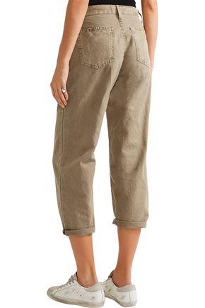 CURRENT/ELLIOTT The Pleated Barrel linen and cotton-blend wide-leg pants