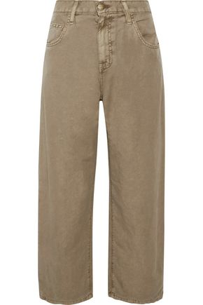 CURRENT/ELLIOTT The Pleated Barrel linen and cotton-blend wide-leg pants