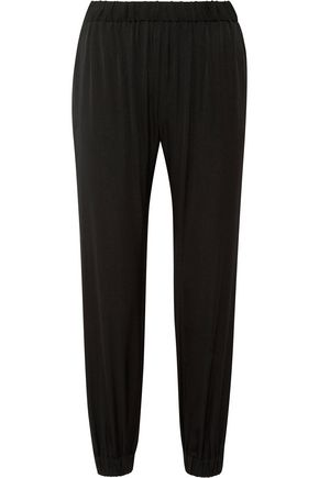 MILLY Gathered silk-blend satin tapered pants
