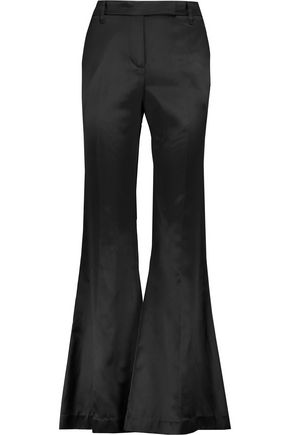 BRUNELLO CUCINELLI Cotton and silk-blend satin bootcut pants