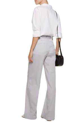 EQUIPMENT FEMME Arwen belted striped cotton wide-leg pants
