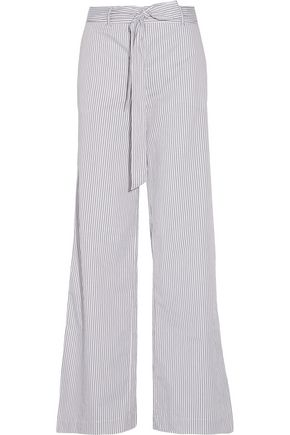 EQUIPMENT Arwen belted striped cotton wide-leg pants