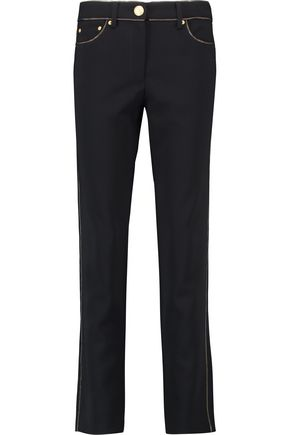 MOSCHINO Embellished crepe straight-leg pants