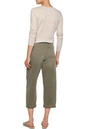 CURRENT/ELLIOTT The Woven Military cropped twill wide-leg pants