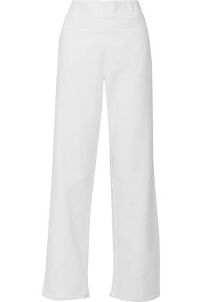 PHILOSOPHY di LORENZO SERAFINI Frayed layered cotton-canvas straight-leg pants
