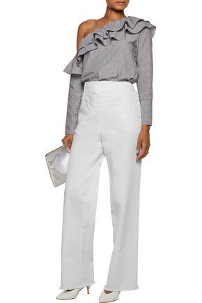 PHILOSOPHY di LORENZO SERAFINI Frayed layered cotton-canvas straight-leg pants