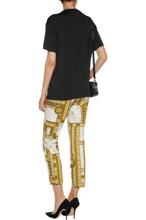 VERSACE JEANS Printed cotton-blend slim-leg pants