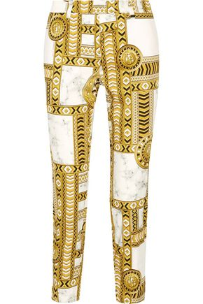 VERSACE JEANS Printed cotton-blend skinny-leg pants