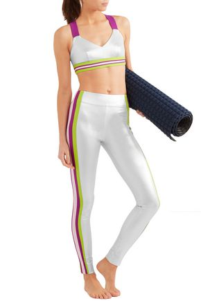 NO KA 'OI Kihi striped metallic stretch-jersey leggings