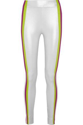 NO KA 'OI Kihi striped metallic stretch-jersey leggings