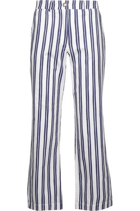 M.I.H JEANS Cropped striped cotton-oxford straight-leg pants