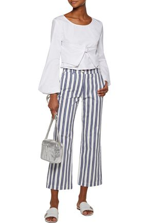M.I.H JEANS Cropped striped cotton-oxford straight-leg pants