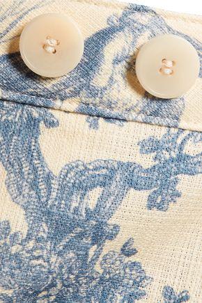 PHILOSOPHY di LORENZO SERAFINI Frayed printed woven cotton straight-leg pants