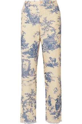 PHILOSOPHY di LORENZO SERAFINI Frayed printed woven cotton straight-leg pants