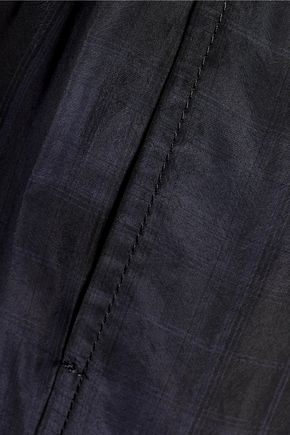 VINCE. Cropped plaid satin wide-leg pants