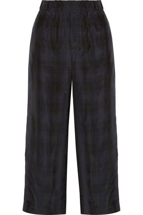 VINCE. Cropped plaid satin wide-leg pants