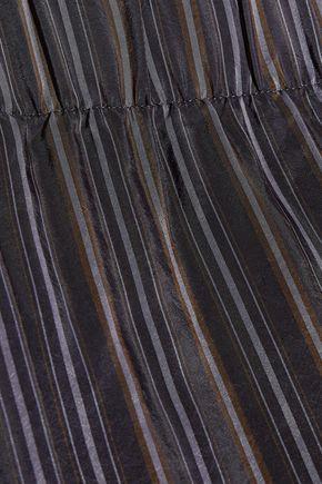 VINCE. Cropped striped satin straight-leg pants