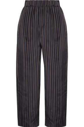 VINCE. Cropped striped satin straight-leg pants