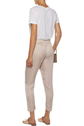 ENZA COSTA Pleated satin tapered pants
